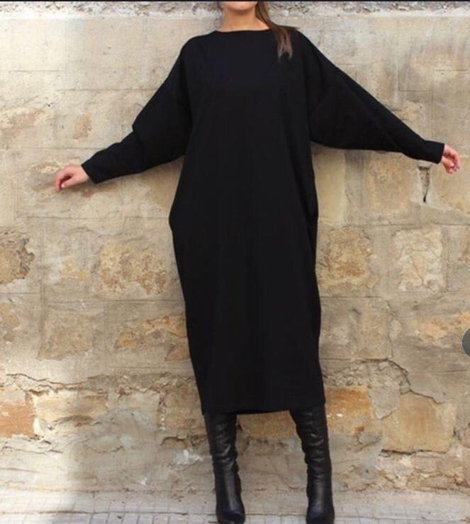 Женское платье батал, турецкая Ангора, р-р универсальный 48-52 (черный)