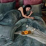 Велюровий Комплект постільної білизни Моніка євро розмір Синього кольору, фото 4