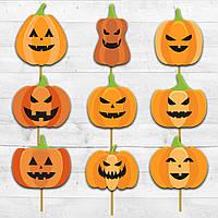 "Бумажные топперы ZavodDekor ""Тыквы на Хеллоуин"" 9 штук Разноцветные Halloween"