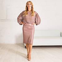 Женская юбка карандаш с эко-кожи с завышенной талией