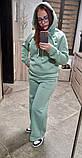 Жіночий теплий спортивний костюм трехнить на байку м'ятного кольору розмір: 42-44, 46-48, фото 2