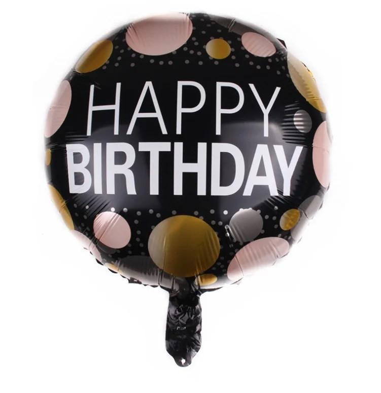 "Куля фольгована кругла ""Happy Birthday"" кола на чорному, 45 см"