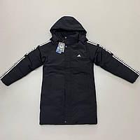 Куртка чоловіча Adidas зимова з капюшоном синього кольору