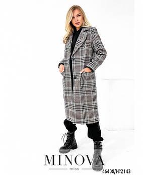Стильное демисезонное пальто в клетку на подкладке с накладными карманами с 42 по 48 размер