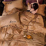 Велюровий Комплект постільної білизни Моніка євро розмір Фіолетового кольору, фото 2