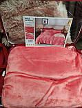 Велюровий Комплект постільної білизни Моніка євро розмір Фіолетового кольору, фото 7