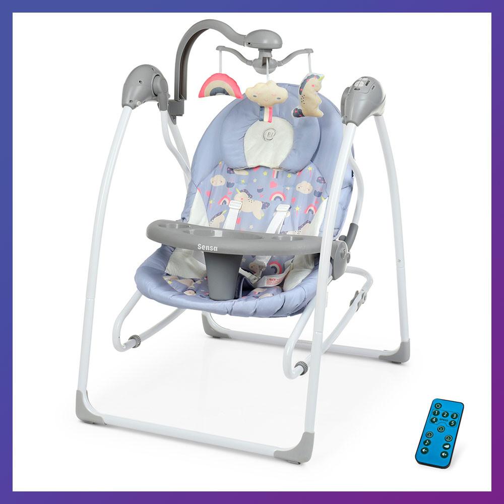 Детский укачивающий центр напольные качели для новорожденных EL CAMINO SENSA ME 1028 Unicorn синий