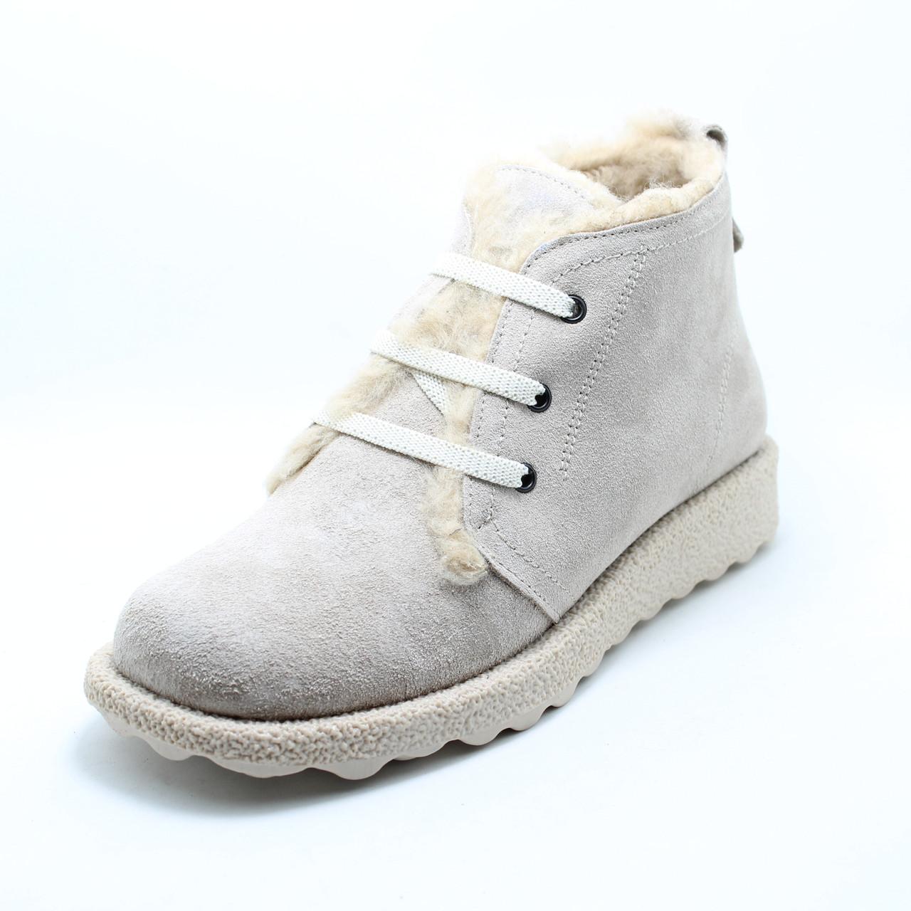 Пудрові жіночі черевики Via Rometti Туреччина, зимові на хутрі
