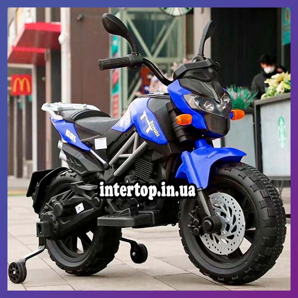 Детский электромотоцикл двухколесный на аккумуляторе BMW M 4621EL для детей 3-8 лет синий