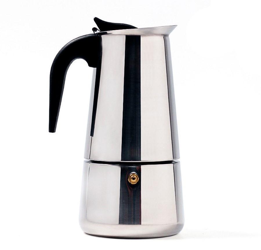 Гейзерная кофеварка еспрессо Domotec DT-2809 на 9 чашек (серебро)
