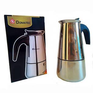 Гейзерная кофеварка еспрессо Domotec DT-2809 на 9 чашек (серебро), фото 2