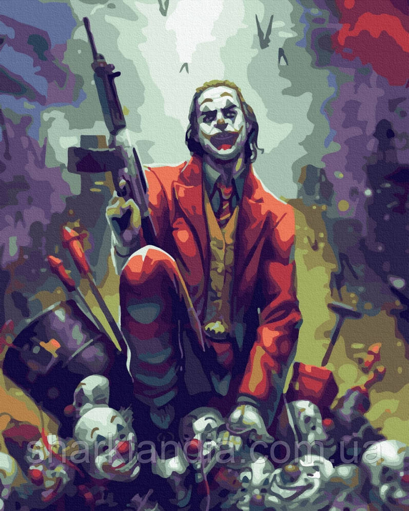 Картина по номерам Джокер с автоматом 40х50см Никитошка Супергерои Марвел Joker DC Marvel