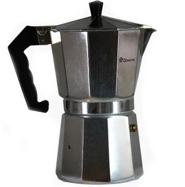 Гейзерна кавоварка еспрессо Domotec DT-2909 на 9 чашок (срібло)