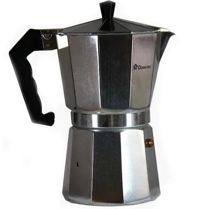 Гейзерна кавоварка еспрессо Domotec DT-2909 на 9 чашок (срібло), фото 2