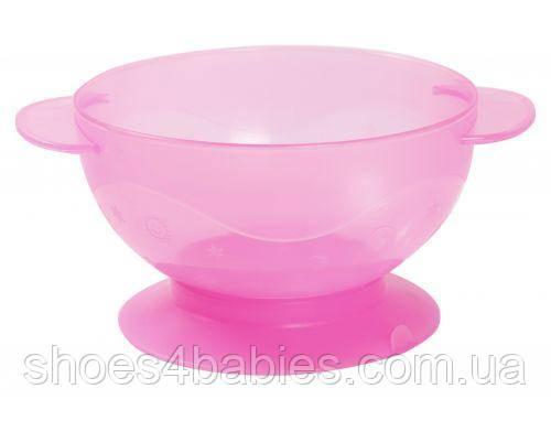 Мисочка на присоске, розовая