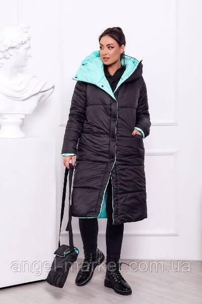 Стильная зимняя женская куртка-пальто норма и батал синтепон 300 новинка