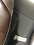 Кожаные женские туфли на высоком каблуке и танкетке, фото 7