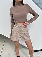 Шорти жіночі стильні трендові з матовою еко шкіри з кишенями Bff247