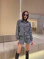 Жакет жіночий стильний укорочений на гудзиках, з накладними кишенями в гусячу лапку Pff321