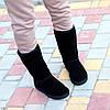 Натуральная замша высокие замшевые женские теплые черные угги зимняя классика, фото 4