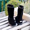 Натуральная замша высокие замшевые женские теплые черные угги зимняя классика, фото 6
