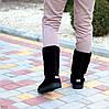 Натуральная замша высокие замшевые женские теплые черные угги зимняя классика, фото 10