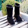 Натуральная замша высокие замшевые женские теплые черные угги зимняя классика, фото 7