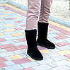 Натуральная замша высокие замшевые женские теплые черные угги зимняя классика, фото 9