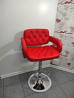 Барный стул для барной стойки хокер с спинкой кресло барное Hoker с подлокотниками эко кожа Bonro 823 красный
