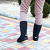 Натуральная замша высокие замшевые женские теплые серые угги зимняя классика, фото 7