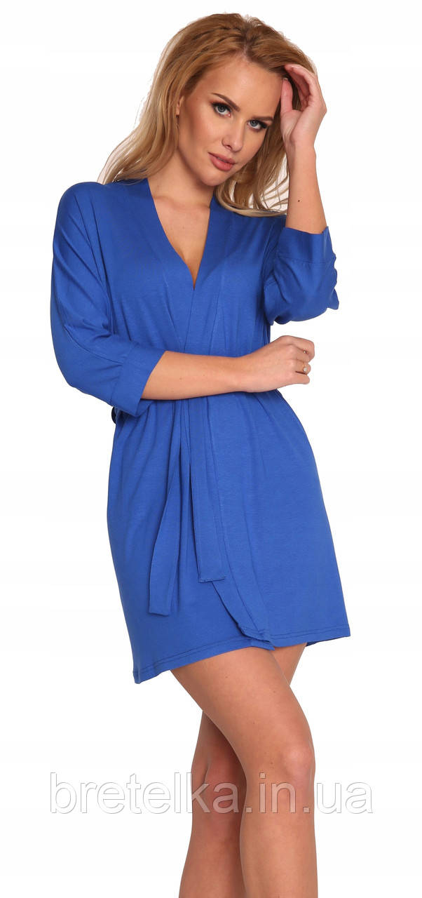 Халат женский вискозный короткий рукав 3/4 синий Delafense 871