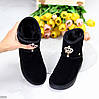 Модельные черные женские замшевые угги натуральная замша с декором корона, фото 10
