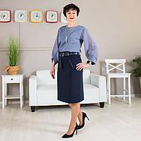 Трикотажна жіноча спідниця за коліно. Розміри 48 - 60, фото 1