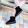 Модельні чорні жіночі замшеві уггі натуральна замша з декором корона, фото 3