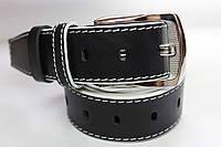 Ремень кожаный 'Streak' 40 мм черный гладкий с белым краем