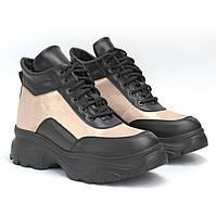 SHAWTY Wawe золотистые женские зимние ботинки на платформе с мехом кожаная обувь