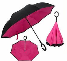 Зонт навпаки umbrella РОЖЕВИЙ, парасолька зворотного складання