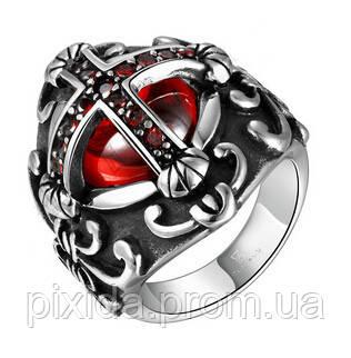Кольцо нержавеющая сталь красный крест