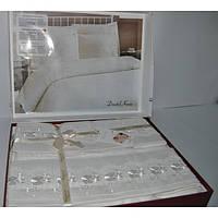 Постельное белье Nazenin Wedding сатин - Dantel крем евро