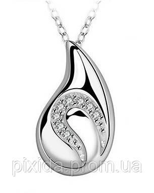 Подвеска Капля фианиты на цепочке покрытие 925 серебро