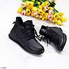 Модні спортивні зимові чорні жіночі черевики на блискавці зима 2021, фото 9