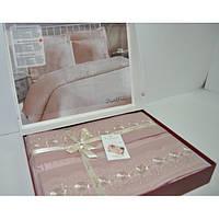 Постельное белье Nazenin Wedding сатин - Dantel пудра евро