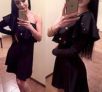 Платье на одно плечо с бусинами
