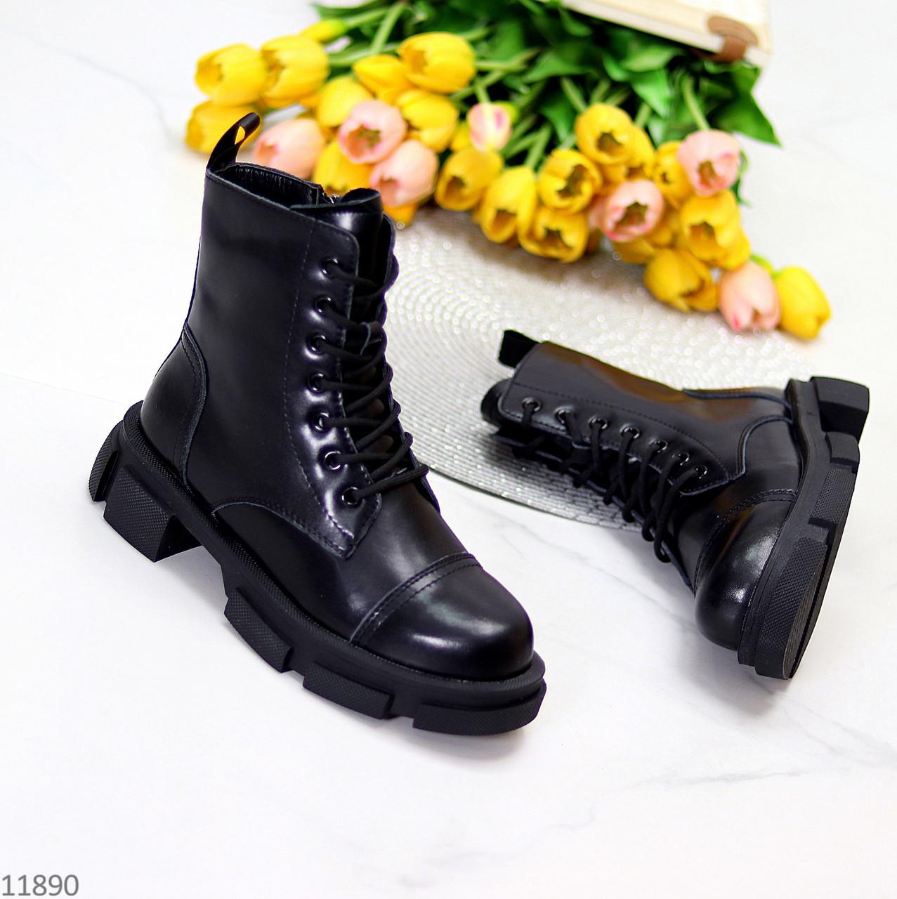 Актуальные повседневные кожаные черные женские ботинки натуральная кожа
