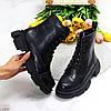 Актуальні повсякденні чорні шкіряні жіночі чоботи натуральна шкіра, фото 2