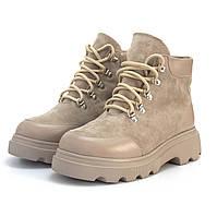 Замшевые бежевые женские ботинки на платформе зимняя обувь Rosso Avangard Addy Beige