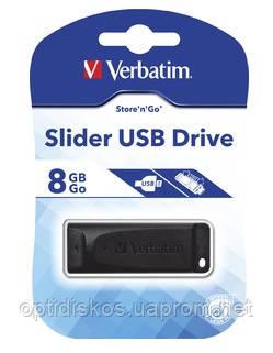 Флешка VERBATIM USB Drive 8 Gb STORE'N'GO Slider Black, фото 2