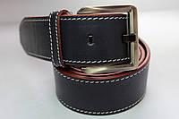 Ремень кожаный 'Streak' 45 мм синий с белой строчкой и красным краем