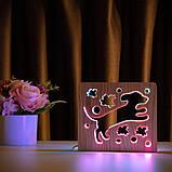"""Світильник нічник ArtEco Light з дерева LED """"Пес та пташки"""" з пультом та регулюванням кольору, подвійний RGB, фото 6"""