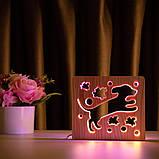 """Світильник нічник ArtEco Light з дерева LED """"Пес та пташки"""" з пультом та регулюванням кольору, подвійний RGB, фото 7"""